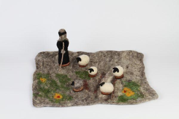 Hand Made Felt Wool Shepherd's Field