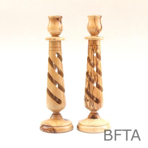 Olive Wood Spiral Candle holder- Set of 2 (L)