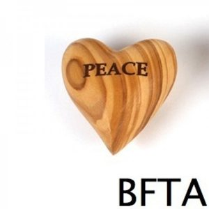 Engraved Olive Wood Heart PEACE- Small