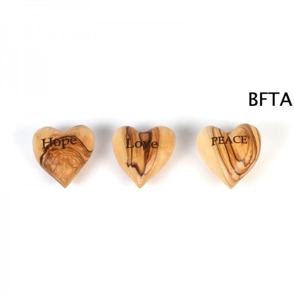 Engraved Olive Wood Heart PEACE – Medium