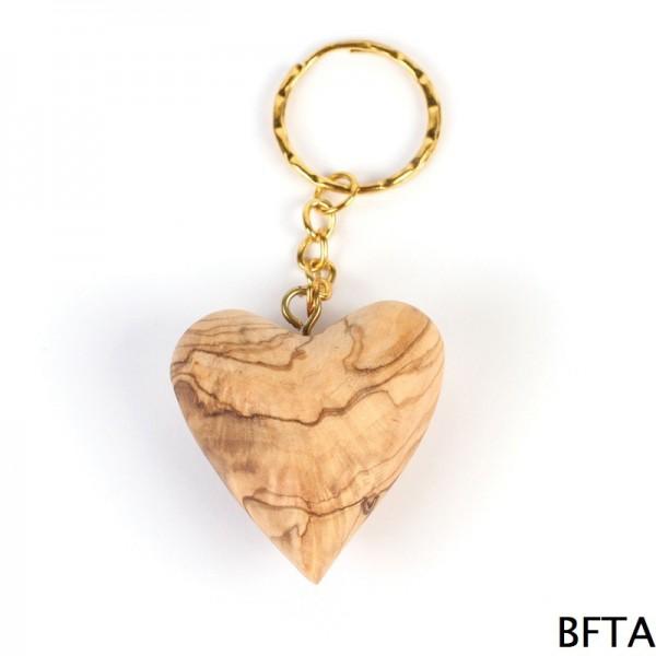 Olive Wood Heart Keychain