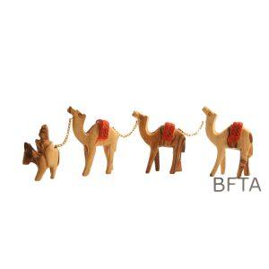 Olive Wood Caravan- Camels & One Donkey