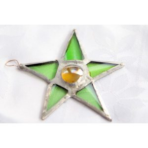 Recycled Glass Pentagon Star with Bead in the middle