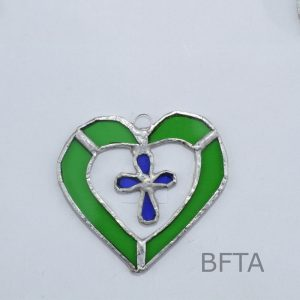 Recycled Glass Heart With Cross