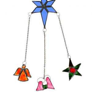 Recycled Glass Star with star, Holy Family and Angel
