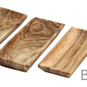 Olive Wood Rectangular Plates – Set of 4