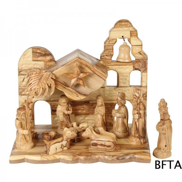 Olive Wood Musical Nativity with Faresy Set 11cm