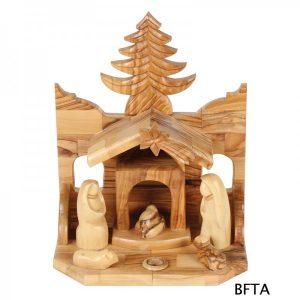 Olive Wood Tree Nativity – Medium