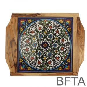 Olive Wood Coaster with Ceramics 'Floral Design' – Medium