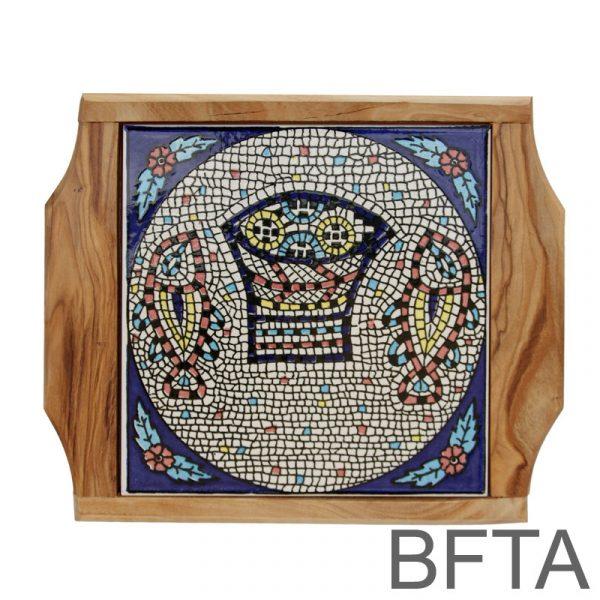 Olive Wood Coaster with Ceramics 'Tabgha' – Medium