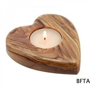 Olive Wood Heart Candle Holder
