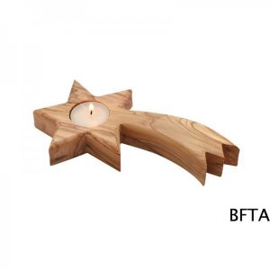 Olive Wood Shooting Star Candle Holder
