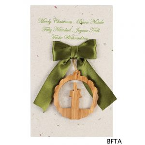 Recycled Paper Card with Candle Ornament – Green