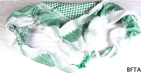 Kuffiya – White Ground, Light Green Thread