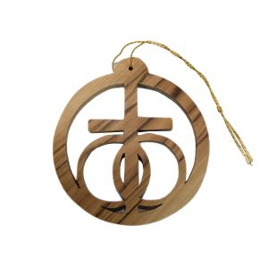 Olive Wood Cross Round Ornament