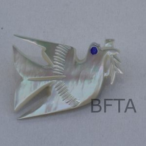 Mother of Pearl Dove of Peace brooch with blue bead