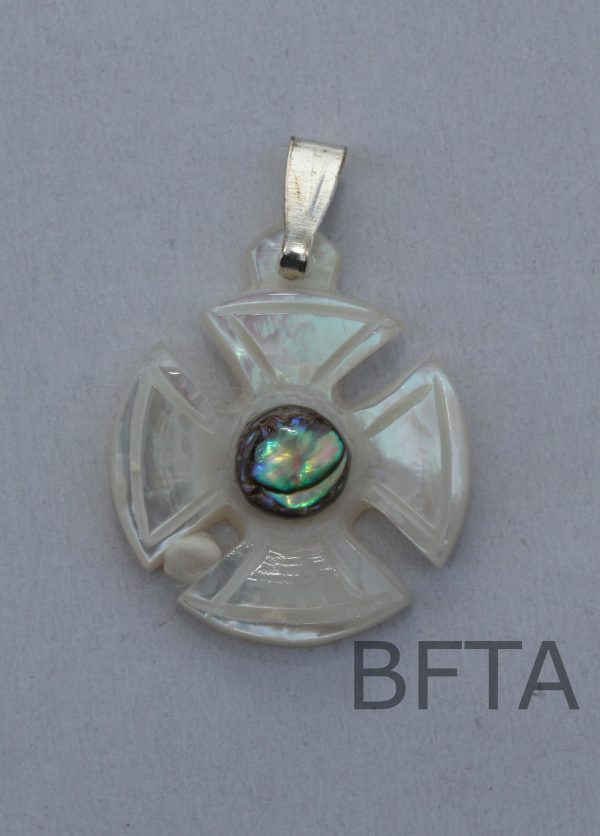 Mother of Pearl Circled cross with colored bead