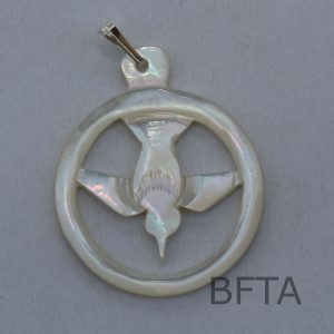 Mother of Pearl Circled dove of peace pendant