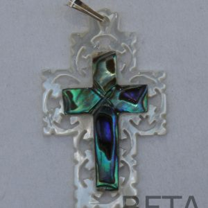 Mother of Pearl Carved cross with colored cross inside