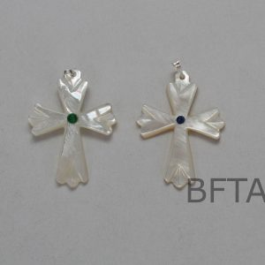 Mother of Pearl Cross With Blue or Green Bead