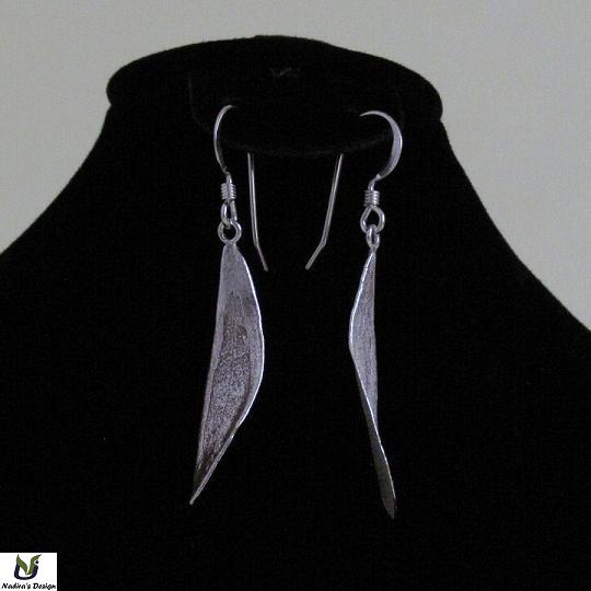 Silver Holy Land slightly twisted olive leaf earring