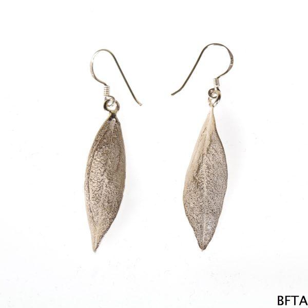 Silver One Leaf Earings
