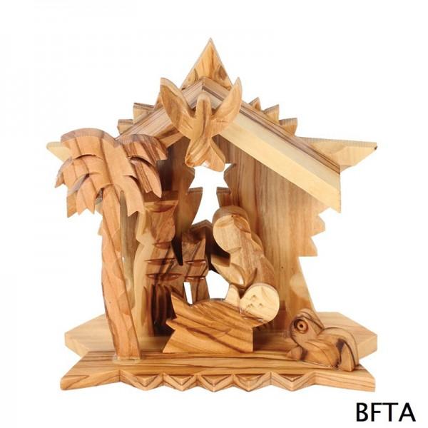 Olive Wood Star Nativity
