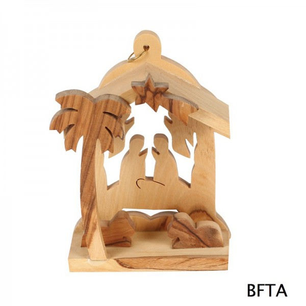 Olive Wood 2 Angels in the Back Nativity
