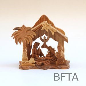 Olive Wood Nativity with Small Angel Hanging in the Back
