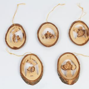 Olive Wood Natural Bark Ornaments