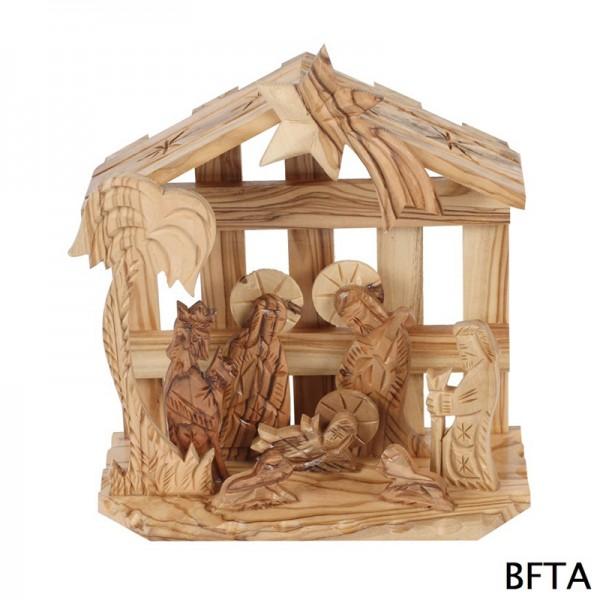 Olive Wood Cage Nativity