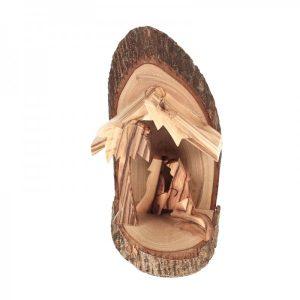 Olive Wood Small nativity with Bark