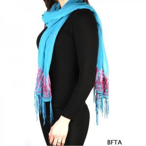 Embroidered Blue Chiffon Shawl with Pink Thread