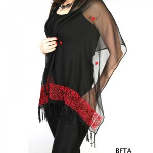 Embroidered Black Chiffon Shawl with Red Thread