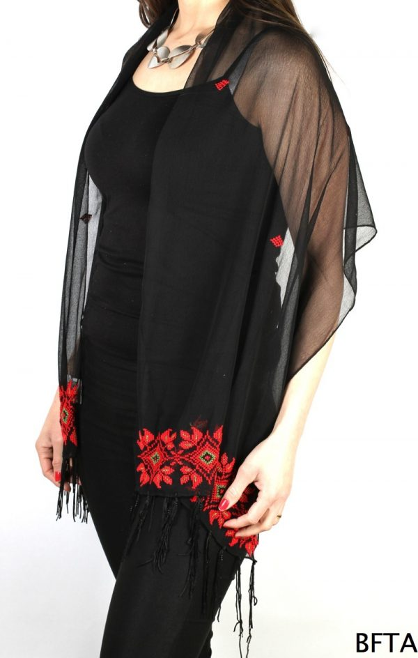 Embroidered Black Chiffon Shawl with Red and Green Thread