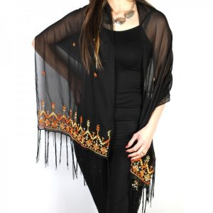 Embroidered Black Chiffon Shawl with Yellow and Orange Thread