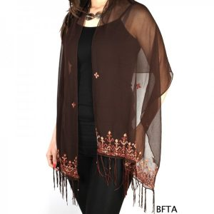 Embroidered Brown Chiffon Shawl with Beig and Borwn Threads