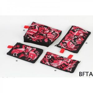Embroidered Black and Red Set – Coin Case