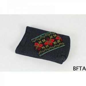Embroidered Jeans Mobile Case with Red and Green Threads