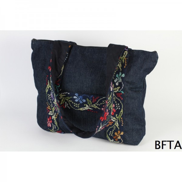 Embroidered Jeans with MultiColored Threads Hand Bag