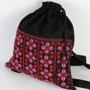 Embroidered Black BackBag with Red and Pink Thread