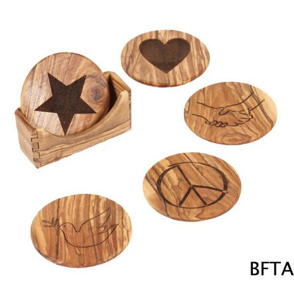 Olive Wood Coasters – Set of 5