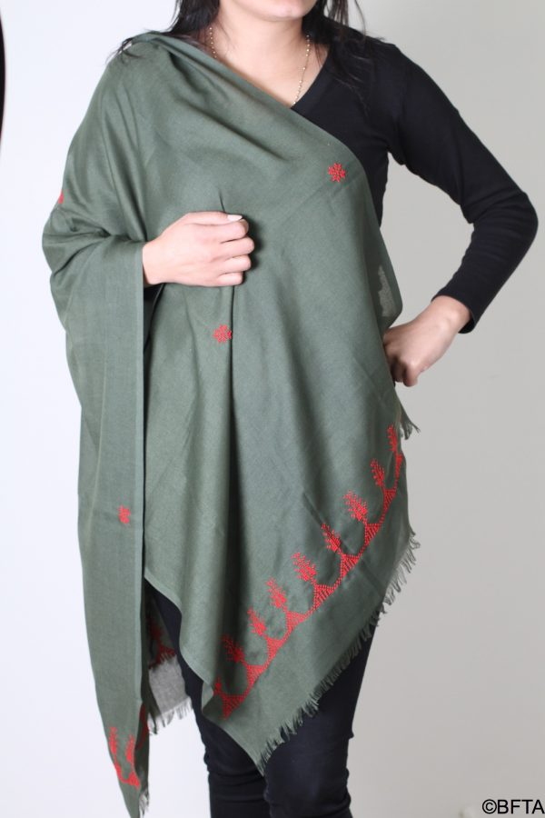 Embroidered Simple Shalls – Olive Green with Red Thread