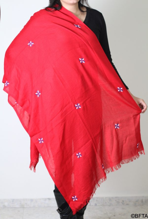 Embroidered Simple Shalls – Red with Blue and White Thread