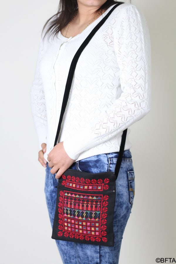 Passport Embroidered Bag – Black with Red Thread