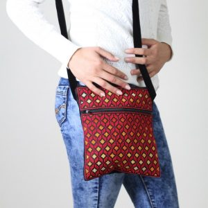 Passport Embroidered Bag – Black with Red and Orange Thread