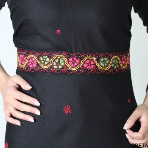 Embroidered Belt – Red with Pink and Green Thread