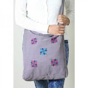 Embroidered Light Purple Bag with Stars