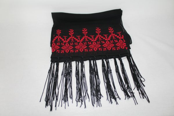 Embroidered shall Silk – Black and Red