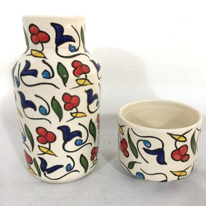 Hand Made Ceramics Water Bottle and Cup Set